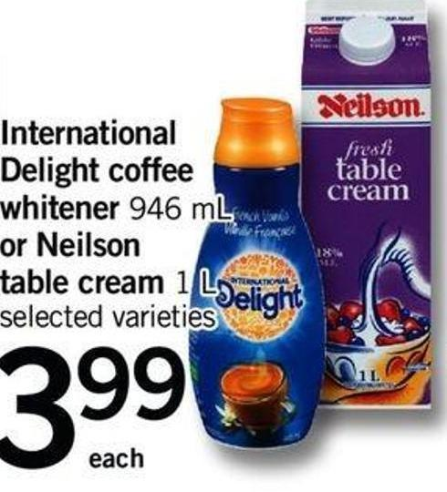 International Delight Coffee Whitener - 946 Ml Or Neilson Table Cream - 1 L