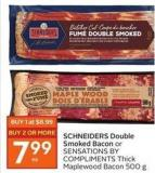 Schneiders Double Smoked Bacon or Sensations By Compliments Thick Maplewood Bacon 500 g