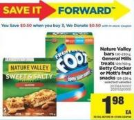 Nature Valley Bars - 130-230 g - General Mills Treats - 120/150 g - Betty Crocker Or Mott's Fruit Snacks - 128-226 g