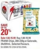 Frank Chips - 200-220g or Gatorade - 24x591ml