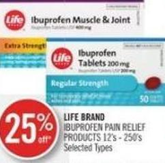 Life Brand Ibuprofen Pain Relief Products 12's - 250's
