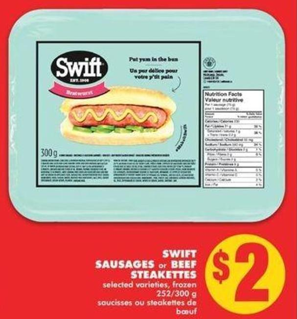 Swift Sausages Or Beef Steakettes - 252/300g