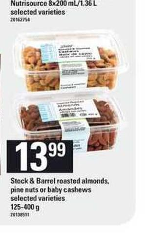 Stock & Barrel Roasted Almonds - Pine Nuts Or Baby Cashews - 125-400 g