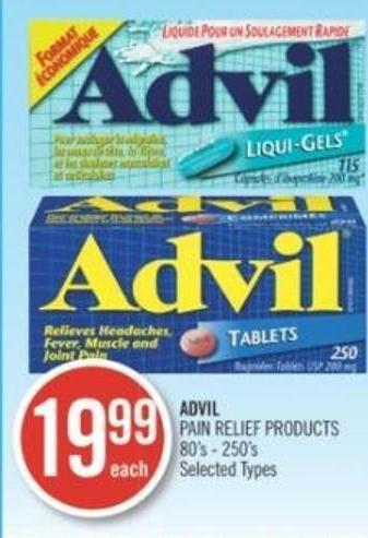 Advil Pain Relief Products 80's - 250's