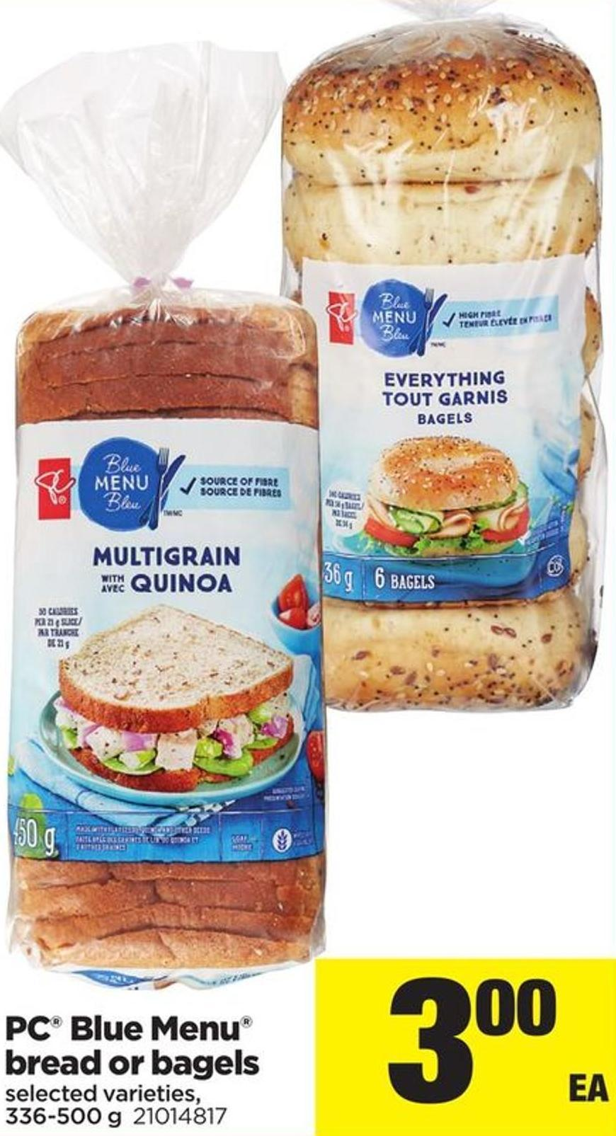 PC Blue Menu Bread Or Bagels - 336-500 g