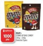 M&m's Stand Up Bag Candy 185g - 230g