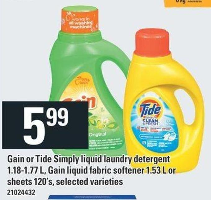 Gain Or Tide Simply Liquid Laundry Detergent 1.18-1.77 L - Gain Liquid Fabric Softener 1.53 L Or Sheets 120's