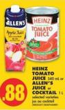 Heinz Tomato Juice 540 mL or Allen's Juice or Cocktail 1 L