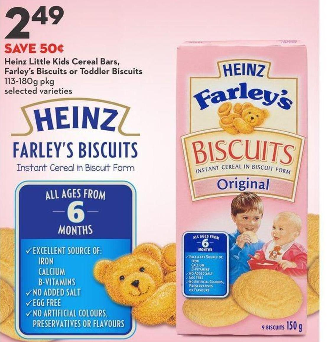 Heinz Little Kids Cereal Bars - Farley's Biscuits or Toddler Biscuits
