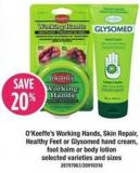 O'keeffe's Working Hands - Skin Repair - Healthy Feet Or Glysomed Hand Cream - Foot Balm Or Body Lotion