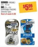 Schick Xtreme3 (3's - 4's) or Bic (2's - 4's) Disposable Razors