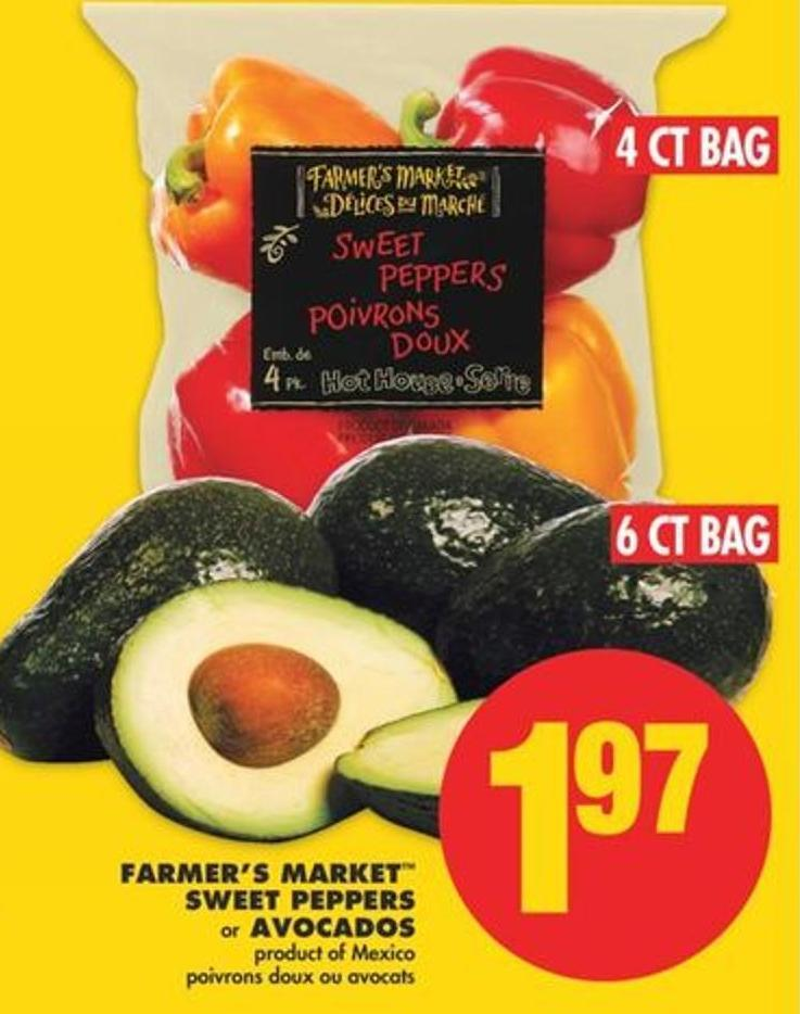 Farmer's Market Sweet Peppers - 4 Ct Bag Or Avocados - 6 Ct Bag