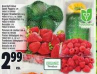 Assorted Colour Sweet Peppers 3 Pk Product Of Ontario Organic Strawberries 454 G Product Of U.S.A. - No. 1 Grade Organic Raspberries 170 G Product Of Mexico Avocados 5 Pk Product Of Mexico