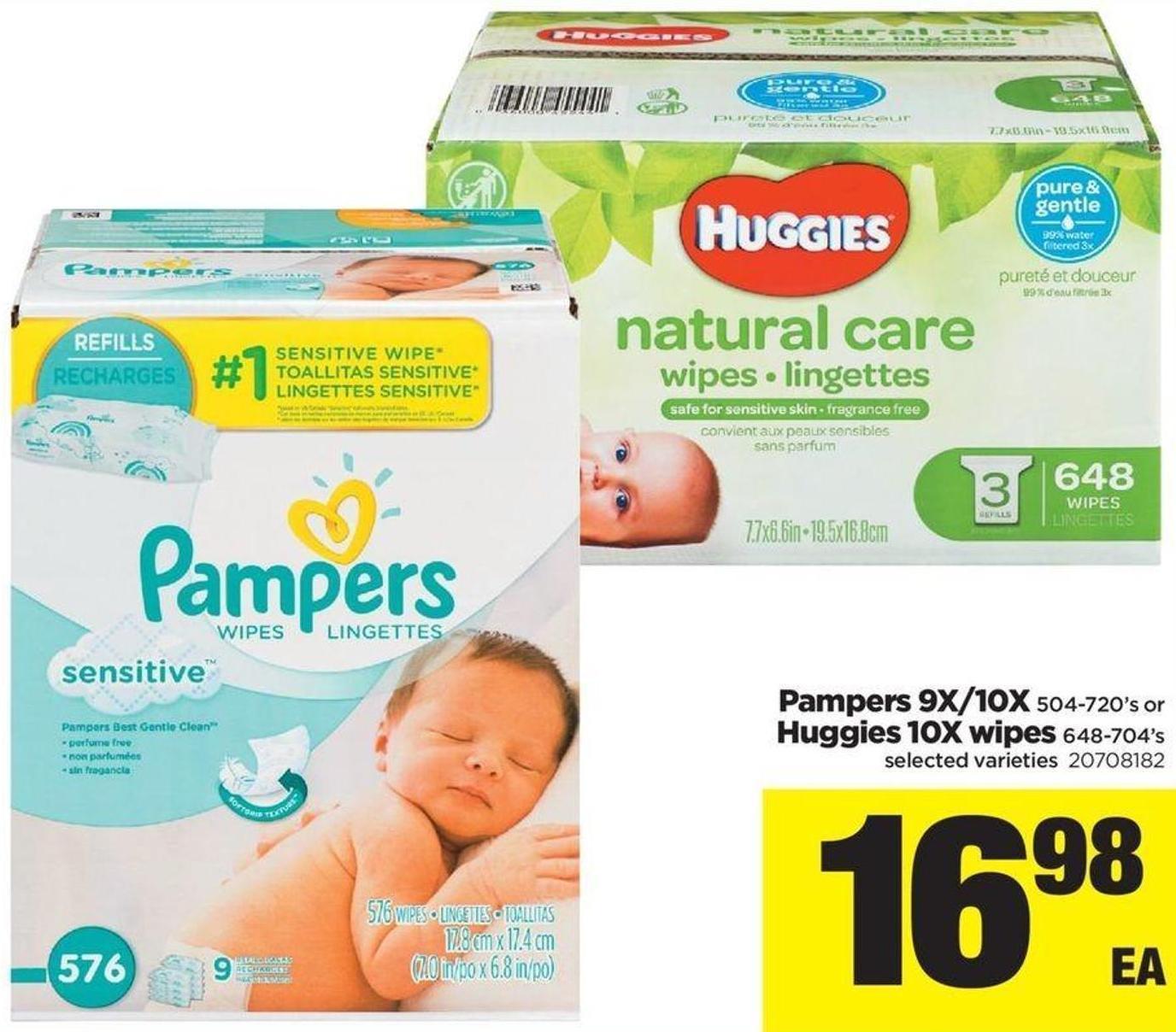 Pampers 9x/10x 504-720's Or Huggies 10x Wipes - 648-704's