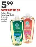 Nature Clean  Hand Soap Refills 1l Bottle