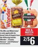Bread - Buns & Bagels From The Following Brands: Wonder - Country Harvest And D'italiano