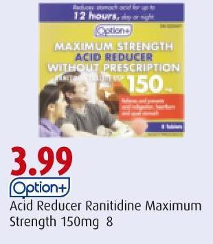 Option+  Acid Reducer Ranitidine  Maximum Strength 150mg 8