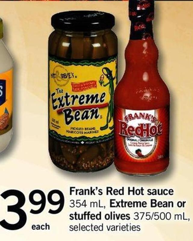 Frank's Red Hot Sauce 354 Ml - Extreme Bean Or Stuffed Olives 375/500 Ml