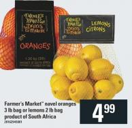 Farmer's Market Navel Oranges 3 Lb Bag Or Lemons 2 Lb Bag