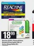 Reactine - 30/36's - Flonase 60 Dose - Benadryl - 25 Mg Caplets - 100's Or Aerius Allergy Tablets - 20's