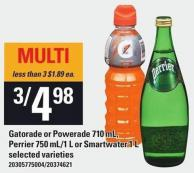 Gatorade Or Powerade 710 Ml - Perrier 750 Ml/1 L Or Smartwater 1 L