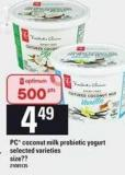 PC Coconut Milk Probiotic Yogurt.