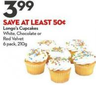 Longo's Cupcakes White - Chocolate or  Red Velvet 6 Pack - 210g