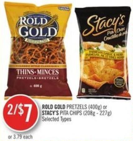 Rold Gold Pretzels (400g) or Stacy's Pita Chips (208g - 227g)