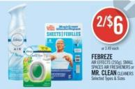 Febreze Air Effects (250g) - Small Spaces Air Fresheners or Mr. Clean Cleaners