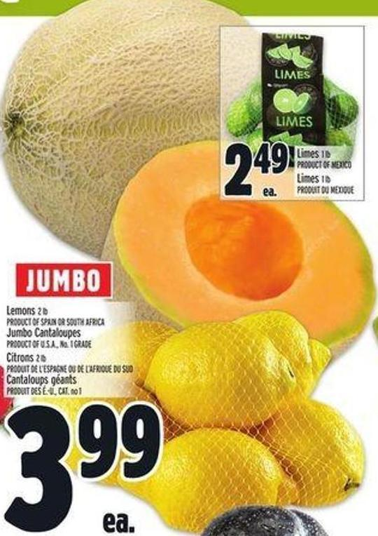 Lemons 2 Lb or Jumbo Cantaloupes