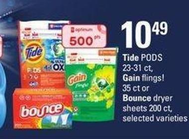 Tide PODS 23-31 Ct - 2.500 Gain Flings! 35 Ct Or Bounce Dryer Sheets 200