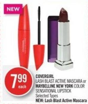 Covergirl Lash Blast Active Mascara or Maybelline New York Color Sensational Lipstick