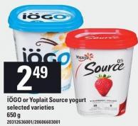 Iögo Or Yoplait Source Yogurt - 650 g