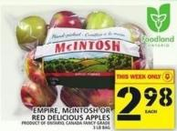 Empire - Mcintosh Or Red Delicious Apples