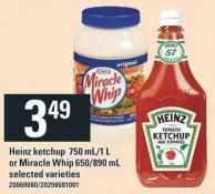 Heinz Ketchup 750 Ml-1 L Or Miracle Whip 650/890 Ml
