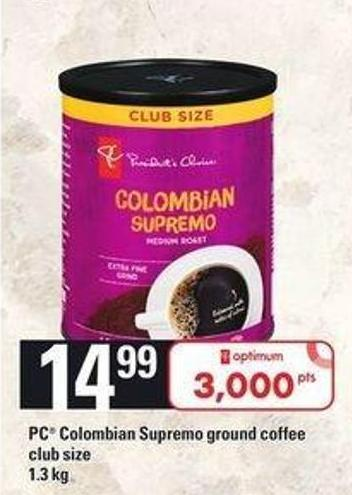 PC Colombian Supremo Ground Coffee - 1.3 Kg