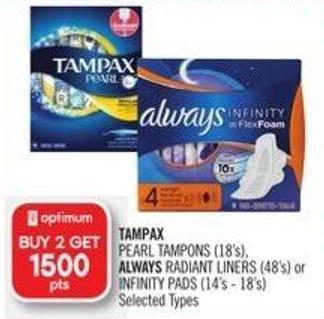 Tampax Pearl Tampons (18's) - Always Radiant Liners (48's) or Infinity Pads (14's - 18's)