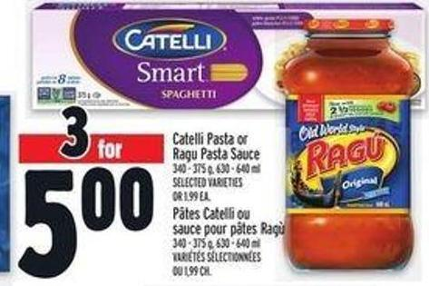 Catelli Pasta or Ragu Pasta Sauce