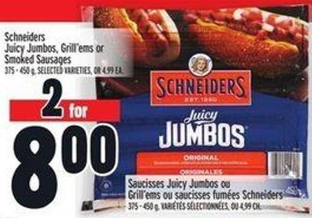 Schneiders Juicy Jumbos - Grill'ems Or Smoked Sausages