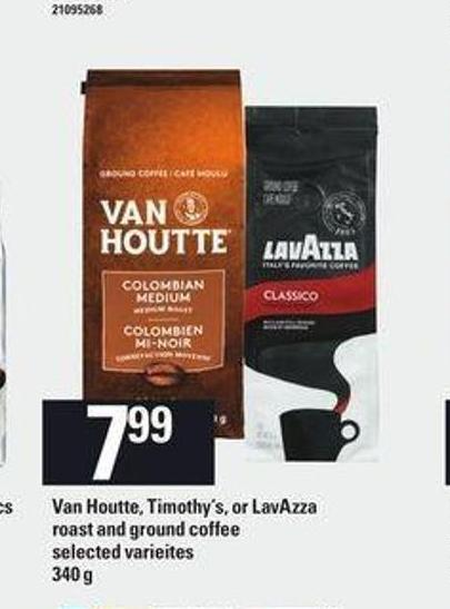 Van Houtte - Timothy's Or Lavazza Roast And Ground Coffee - 340 g