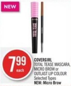 Covergirl Total Tease Mascara - Micro Brow or Outlast Lip Colour