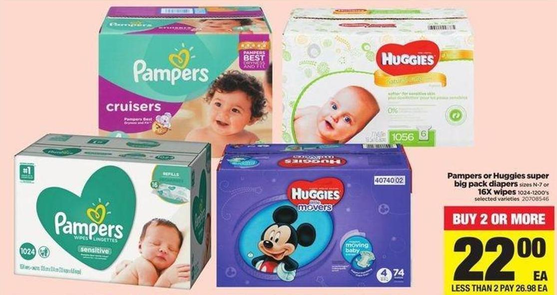 Pampers Or Huggies Super Big Pack Diapers Sizes N-7 Or 16x Wipes - 1024-1200's