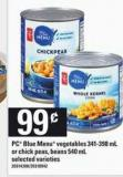 PC Blue Menu Vegetables 341-398 mL Or Chick Peas - Beans 540 mL