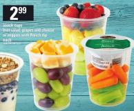 Snack Cups Fruit Salad - Grapes And Cheese Or Veggies With Ranch Dip