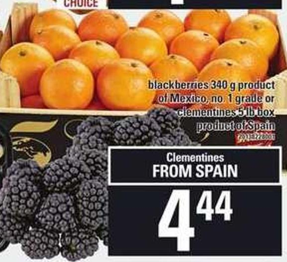 Blackberries - 340 G Or Clementines - 5 Lb Box