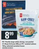 PC Pacific Large White Shrimp - Raw Peeled 31-40 Per Lb Frozen 400 G Or PC Smoked Salmon 150 g