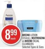 Aveeno Lotion (354ml) - Neutrogena or Aveeno Facial Cleansers