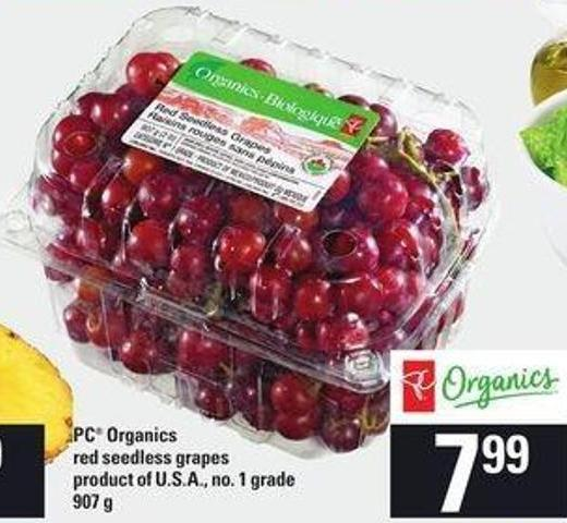 PC Organics Red Seedless Grapes - 907 g
