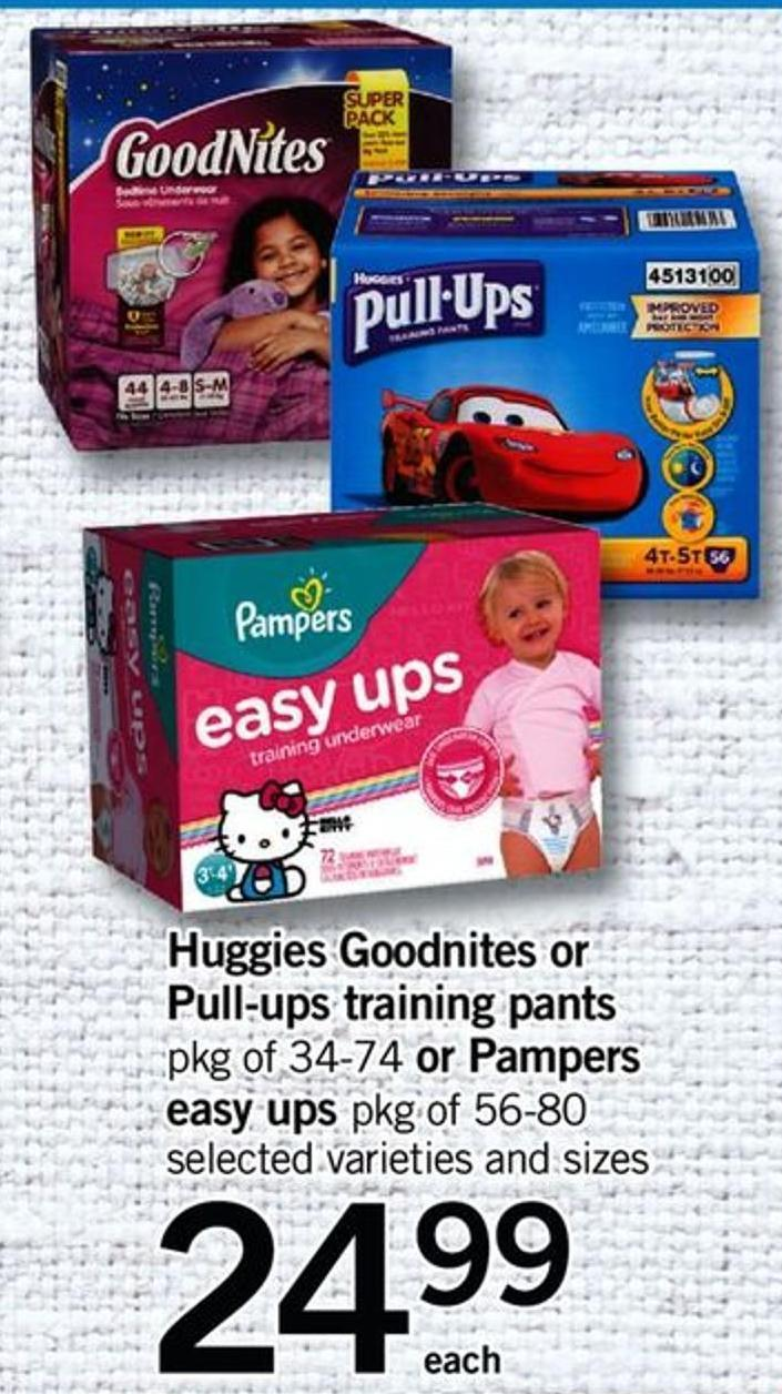 Huggies Goodnites Or Pull-ups Training Pants Pkg Of 34-74 Or Pampers Easy Ups Pkg Of 56-80