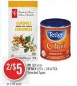 PC (20's) or Tetley (20's - 24's) Tea